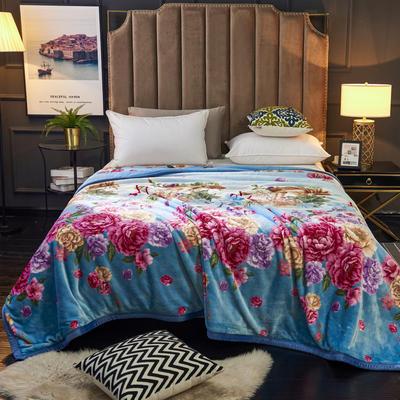 2020新款500克欧式印花法兰绒珊瑚绒毛毯盖毯子保暖床单 160*220cm 艾丽斯
