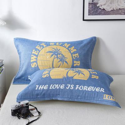 2020新款四层纱布定位纯棉枕巾成人加大枕头毛巾 夏日-蓝  一对