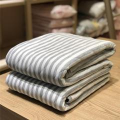 法芙娜家纺 无印良品风 天竺棉夏凉被 灰色条纹 200X230cm 灰色条纹