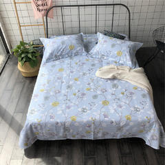 法芙娜家纺 2018纯棉亚麻凉席三件套(总) 1.5m(5英尺)床 蓝色花卉
