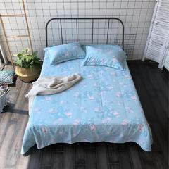 法芙娜家纺 2018纯棉亚麻凉席三件套(总) 1.5m(5英尺)床 蓝色小花