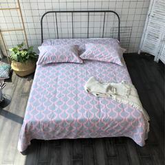 法芙娜家纺 2018纯棉亚麻凉席三件套(总) 1.8m(6英尺)床 灰粉线条
