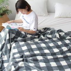 (总)法芙娜家纺 2018秋冬加厚法兰绒毛毯 简约丝柔毯 团购礼品 150cmX200cm 灰色田字格
