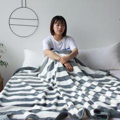 法芙娜家纺 2018秋冬加厚法兰绒毛毯 简约丝柔毯 灰白条 150cmX200cm 灰白条