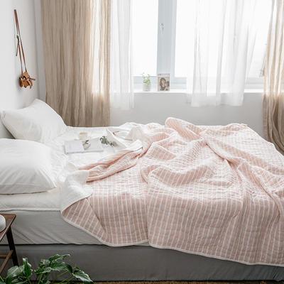 法芙娜家纺 2019无印良品风 天竺棉夏凉被空调被 藕粉色条纹 150x200cm 藕粉色条纹