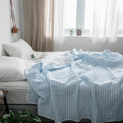 (总)法芙娜家纺 2020 针织棉夏被 全棉天竺棉夏凉被 150x200cm 蓝色条纹
