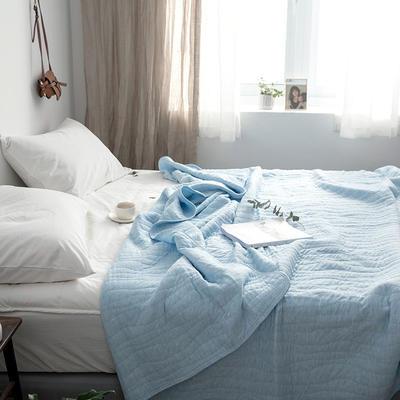 法芙娜家纺 2019无印良品风 全棉天竺棉夏凉被空调被 纯蓝色 150x200cm 纯蓝色