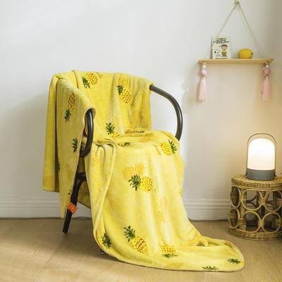 法芙娜家纺 双层卡通云毯 法兰绒加厚毛毯 空调毯 菠萝 100*135cm 菠萝