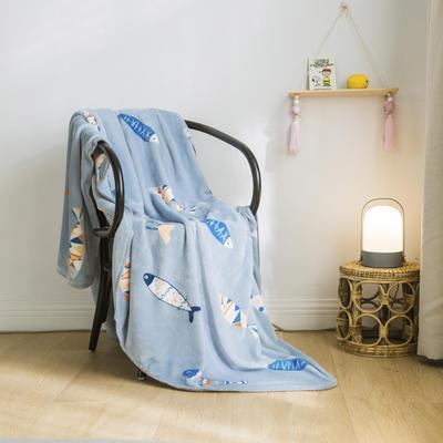法芙娜家纺 双层卡通云毯 法兰绒加厚毛毯 空调毯 好多鱼 100*135cm 好多鱼