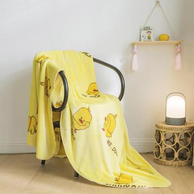 法芙娜家纺 双层卡通云毯 法兰绒加厚毛毯 空调毯 黄鸭 100*135cm 黄鸭