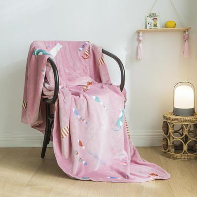 法芙娜家纺 双层卡通云毯 法兰绒加厚毛毯 空调毯 猫吃鱼 100*135cm 猫吃鱼