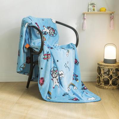 法芙娜家纺 双层卡通云毯 法兰绒加厚毛毯 空调毯 七彩木马 100*135cm 七彩木马