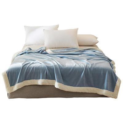 法芙娜 2019秋冬加厚法兰绒毛毯 羊羔绒包边 天蓝色 150cmX200cm 天蓝色