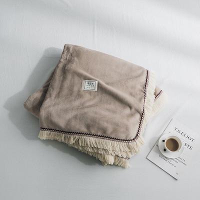 (总)法芙娜家纺 2019秋冬加厚法兰绒毛毯 吸湿排汗毯子 枕套一对 驼色