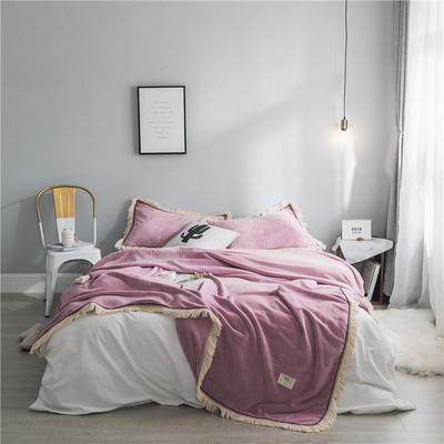 法芙娜家纺 2019秋冬加厚法兰绒毛毯 吸湿排汗毯子 浅紫 枕套 浅紫