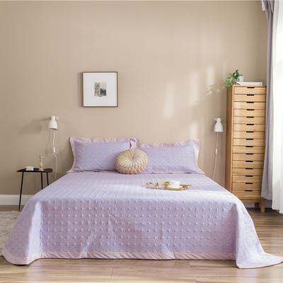 (总)法芙娜 2019新款 全棉砂洗床盖三件套 正反面13372 床盖240*250cm+枕套一对 浅紫