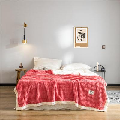 (总)2019 法芙娜 双层加厚菠萝毯 法兰绒毛毯 法莱绒毯子 180cmX200cm 玫红