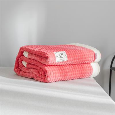 2019 法芙娜 双层加厚菠萝毯 法兰绒毛毯 法莱绒毯子 玫红 150cmX200cm 玫红