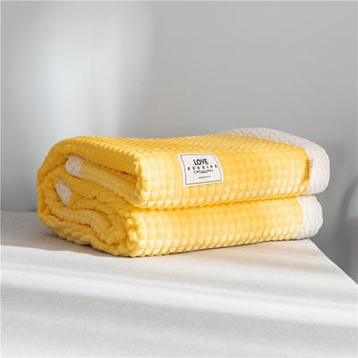 2019 法芙娜 双层加厚菠萝毯 法兰绒毛毯 法莱绒毯子 嫩黄 150cmX200cm 嫩黄