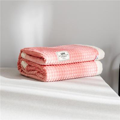 2019 法芙娜 双层加厚菠萝毯 法兰绒毛毯 法莱绒毯子 西瓜红 150cmX200cm 西瓜红