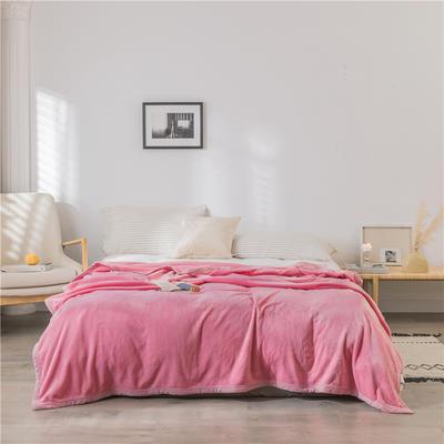 (总)法芙娜 2019秋冬新款 无印良品风毛毯单色条纹毯子 180cmX200cm 纯色粉色