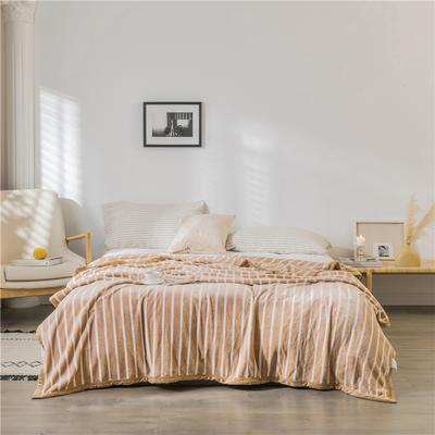 (总)法芙娜 2019秋冬新款 无印良品风毛毯单色条纹毯子 100*150cm 条纹驼色