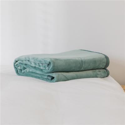 法芙娜 2019秋冬新款 无印良品风毛毯单色条纹毯子 纯色绿色 100*150cm 纯色绿色