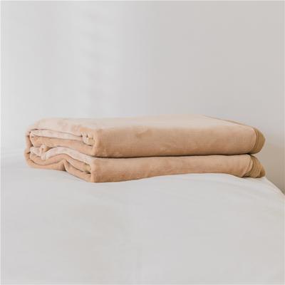 法芙娜 2019秋冬新款 无印良品风毛毯单色条纹毯子 纯色驼色 100*150cm 纯色驼色