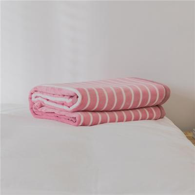 法芙娜 2019秋冬新款 无印良品风毛毯单色条纹毯子 条纹粉色 100*150cm 条纹粉色