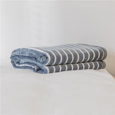 法芙娜 2019秋冬新款 无印良品风毛毯单色条纹毯子 条纹灰色 100*150cm 条纹灰色