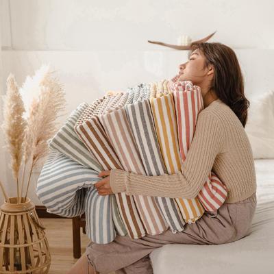 (总)法芙娜家纺 2020 针织棉夏被 全棉天竺棉夏凉被 100x150cm 姜黄条纹
