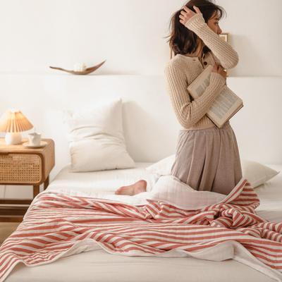 (总)法芙娜家纺 2020 针织棉夏被 全棉天竺棉夏凉被 100x150cm 豆沙条纹
