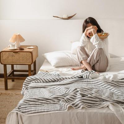 (总)法芙娜家纺 2020 针织棉夏被 全棉天竺棉夏凉被 100x150cm 灰色条纹