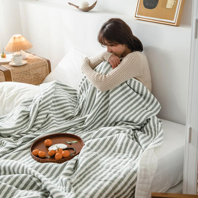 (总)法芙娜家纺 2020 针织棉夏被 全棉天竺棉夏凉被 150x200cm 墨绿条纹