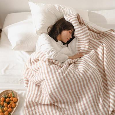 (总)法芙娜家纺 2020 针织棉夏被 全棉天竺棉夏凉被 150x200cm 浅咖条纹