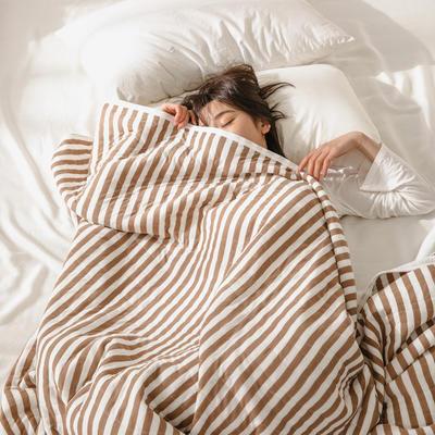 (总)法芙娜家纺 2020 针织棉夏被 全棉天竺棉夏凉被 100x150cm 深咖条纹