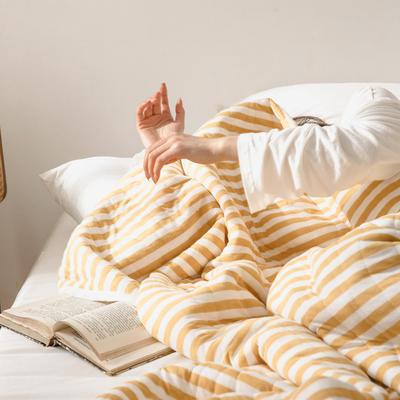 法芙娜家纺 2020 针织棉夏被 全棉天竺棉夏凉被 姜黄条纹 100x150cm 姜黄条纹
