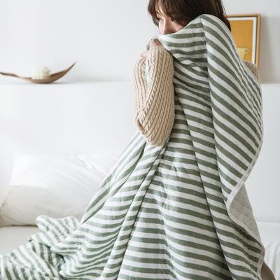 法芙娜家纺 2020 针织棉夏被 全棉天竺棉夏凉被 墨绿条纹 100x150cm 墨绿条纹