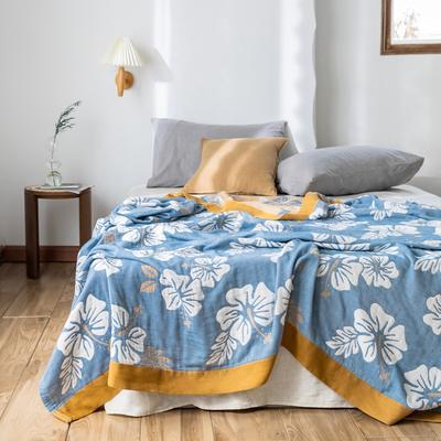 2020春夏新款 全棉5层纱布盖毯夏凉被 繁花咖 200X230cm 繁花咖