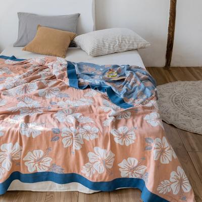 2020春夏新款 全棉5层纱布盖毯夏凉被(总) 200X230cm 繁花蓝