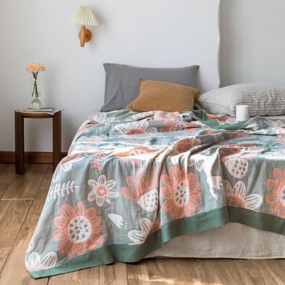 2020春夏新款 全棉5层纱布盖毯夏凉被(总) 200X230cm 向日葵绿