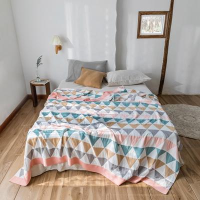 2020春夏新款 全棉5层纱布盖毯夏凉被 摩登时代粉 200X230cm 摩登时代粉