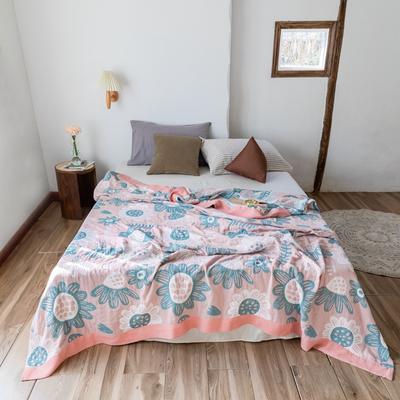 2020春夏新款 全棉5层纱布盖毯夏凉被 向日葵粉 200X230cm 向日葵粉
