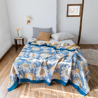 2020春夏新款 全棉5层纱布盖毯夏凉被 向日葵蓝 200X230cm 向日葵蓝