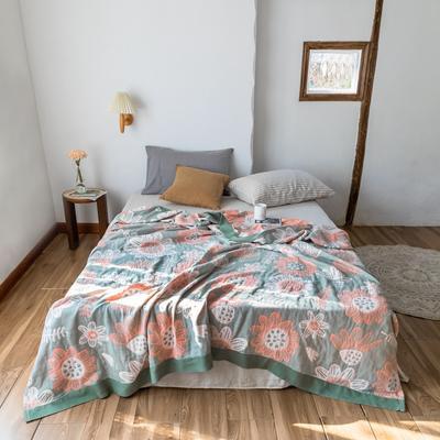 2020春夏新款 全棉5层纱布盖毯夏凉被 向日葵绿 200X230cm 向日葵绿