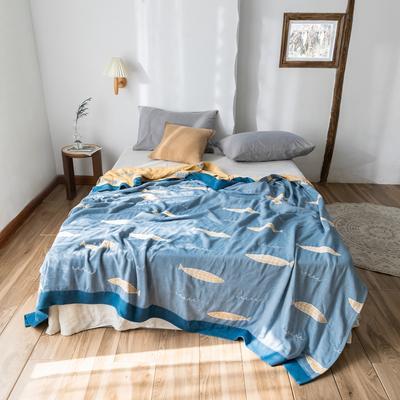 2020春夏新款 全棉5层纱布盖毯夏凉被 鱼蓝 200X230cm 鱼蓝