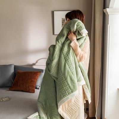 法芙娜家纺 2020新款吸湿复合休闲毯 加厚牛奶绒毛毯 单毛毯200*230cm 薄荷绿