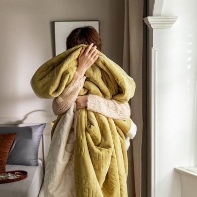 法芙娜家纺 2020新款吸湿复合休闲毯 加厚牛奶绒毛毯 单毛毯200*230cm 芥末黄