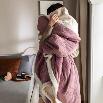 法芙娜家纺 2020新款吸湿复合休闲毯 加厚牛奶绒毛毯 单毛毯200*230cm 魅力紫