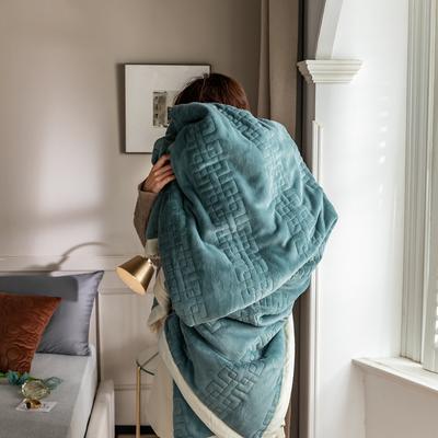 法芙娜家纺 2020新款吸湿复合休闲毯 加厚牛奶绒毛毯 单毛毯200*230cm 松石蓝